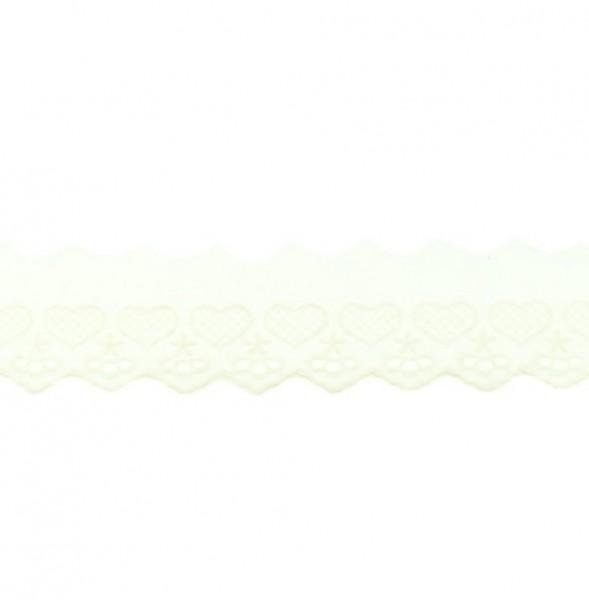 Wäschespitze Herzen - alt weiß - 50 mm