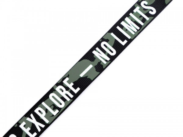 Webband- No Limits - Let's Explore - schwarz - 19mm