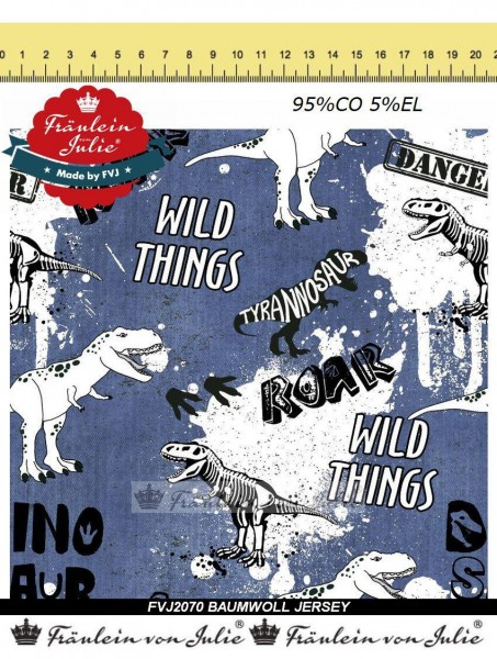 Fräulein von Julie - Wild Dino Things - dark denim - Baumwolljersey