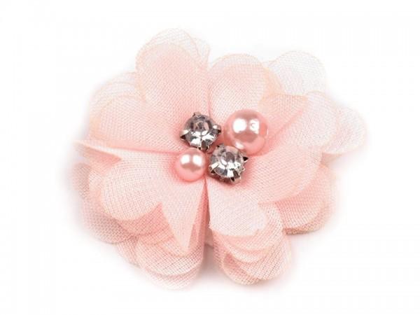 Stoffblume mit Perlen - hellrosa - 50 mm - 1 Stk