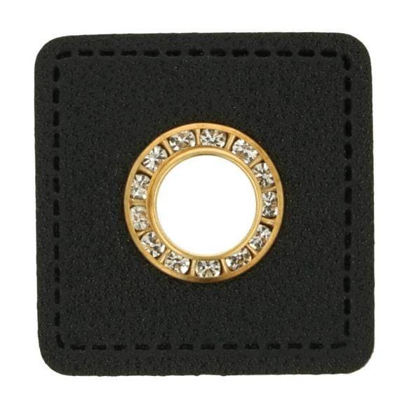 Ösenpatch Strass - Viereck - 8mm - schwarz-gold