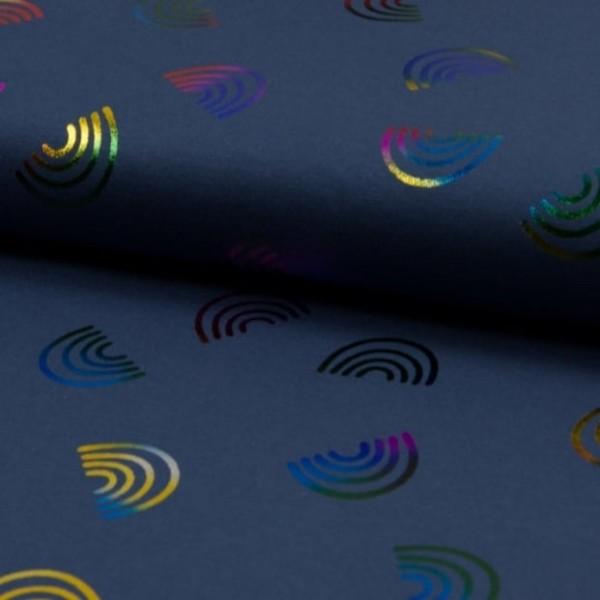 Folienprint - Regenbögen bunt - blau - BW-Jerey