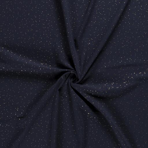 Musselin - Gold-Dots - dunkelblau