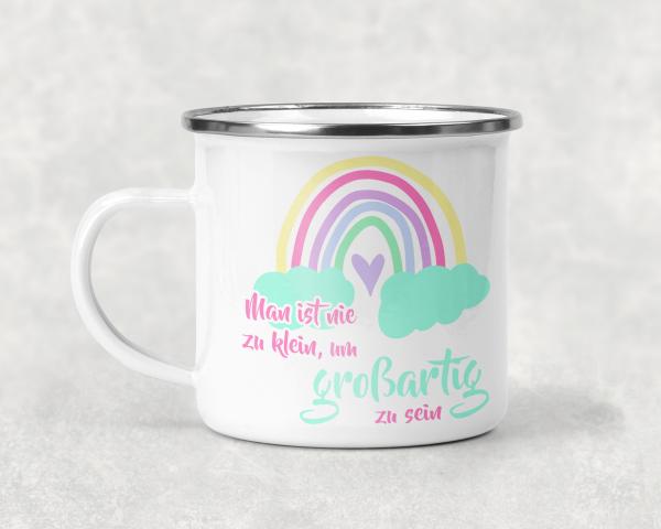 Eigenproduktion - Lovely Rainbows - Emaille-Tasse - regenbogen-pastell