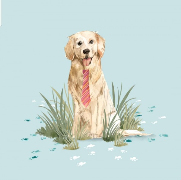 Hund mit Schlips - Panel - French Terry