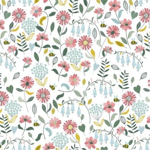 Brushed Flowers - weiß - Popeline