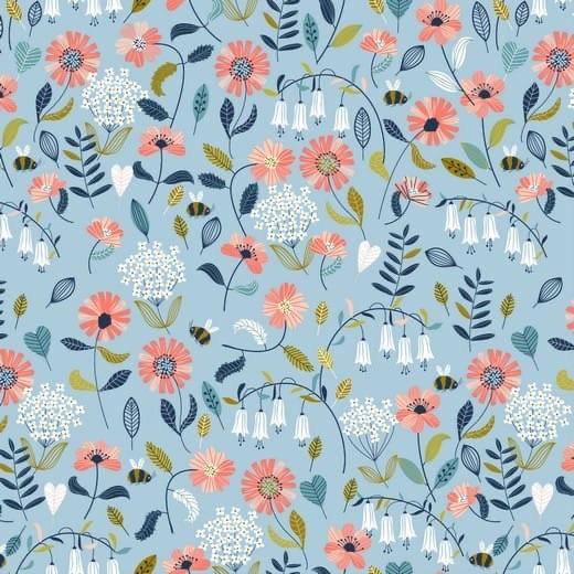 Brushed Flowers - hellblau - Popeline