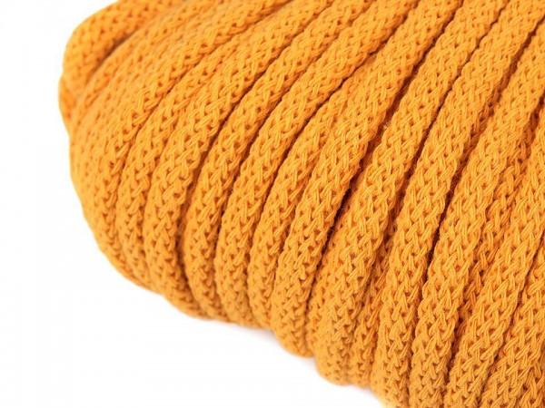 weiche Baumwollkordel - rund - gelb - 5 mm