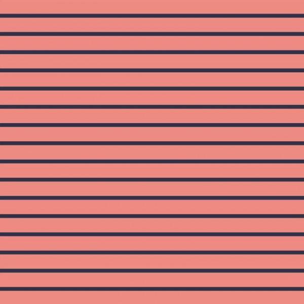 Stripes - salmon/navy - Sommersweat -