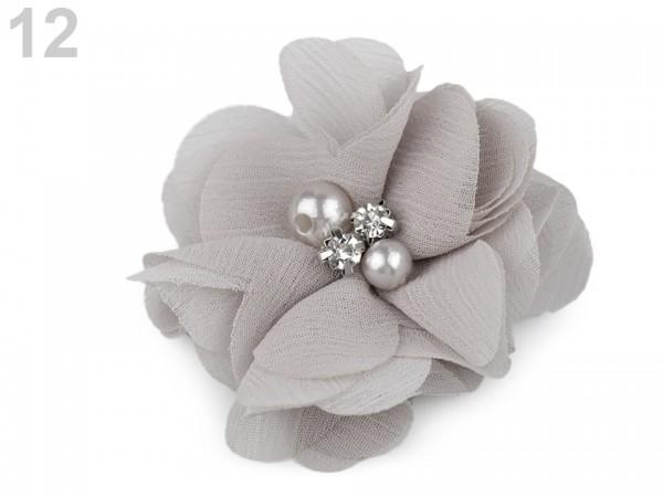 Stoffblume mit Perlen - hellgrau - 50 mm - 1 Stk