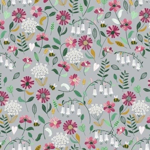 Brushed Flowers - hellgrau - Popeline