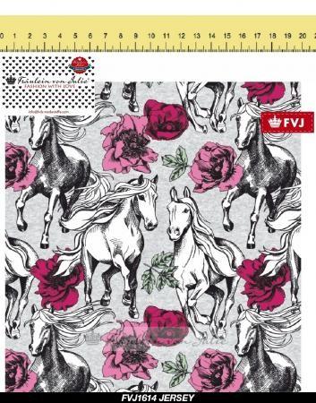 Fräulein von Julie - Blumen-Pferde - BW-Jersey