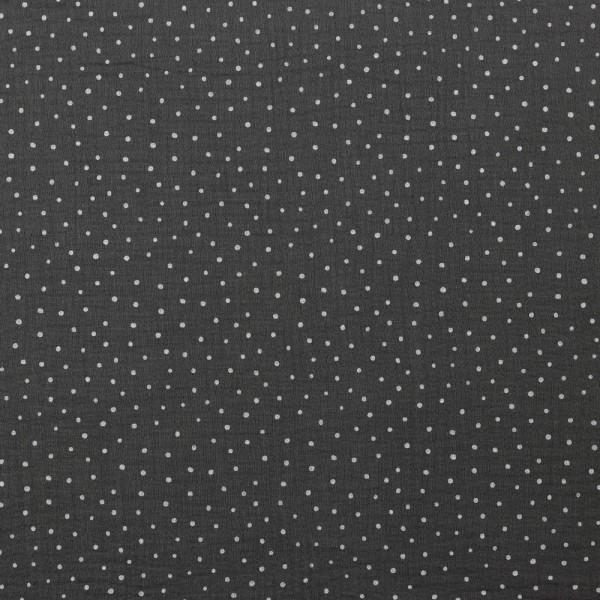 kleine Punkte - dunkelgrau - Musselin