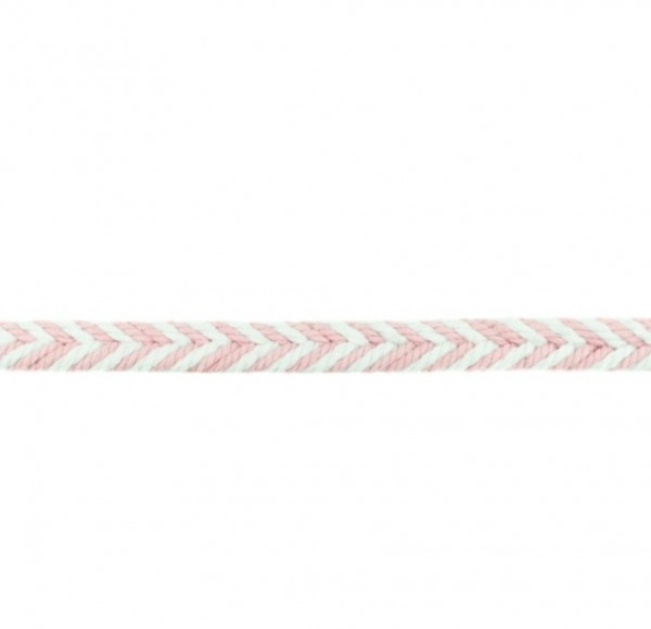 Baumwollkordel Fischgrät - rosa - 10 mm -
