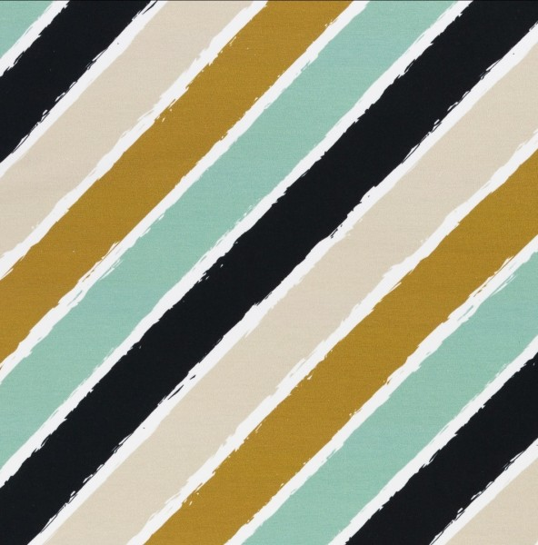 Swafing - Diagonally - by lycklig design - goldgelb-mint - French Terry