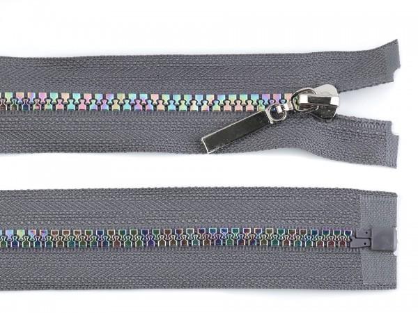 teilbarer Reißverschluss - grau-regenbogen - 80 cm - 1 Stk