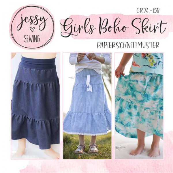 Papierschnittmuster - Jessy Sewing - Girls Boho Skirt