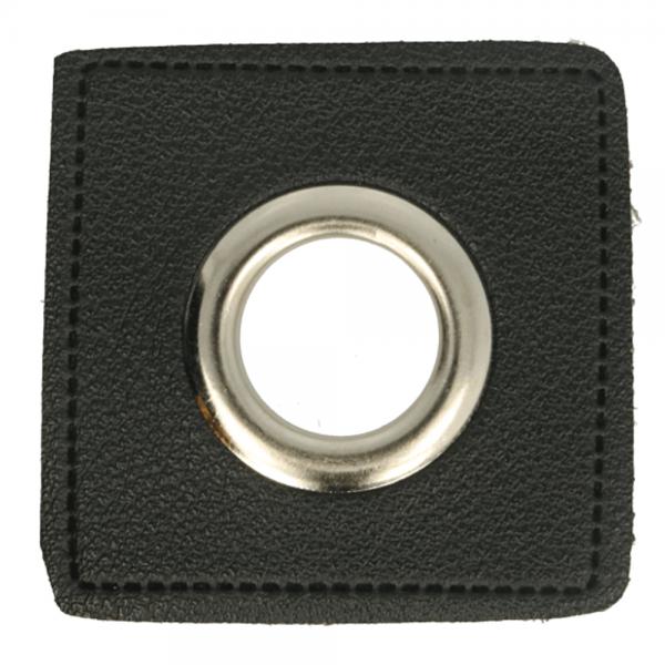 Ösenpatch - Viereck - 11mm - schwarz-silber