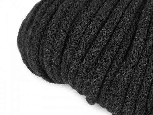 weiche Baumwollkordel - rund - dunkelgrau - 5 mm