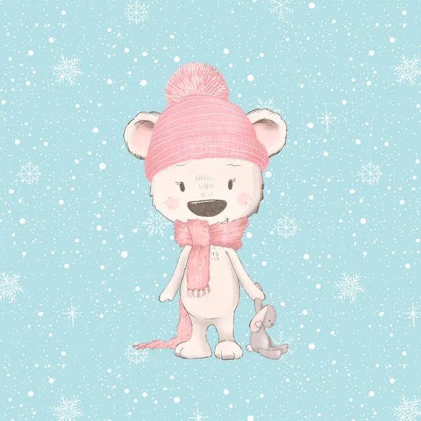 Schneegestöber - Panel - Eisbär mit Hasi - French Terry