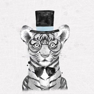 Panel - Party-Tiere - Tiger - French Terry