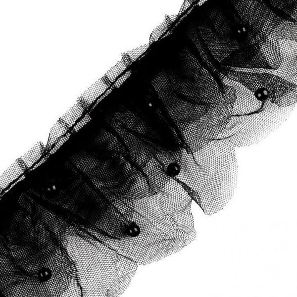 super softe Rüschenborte mit Perlen - schwarz - 75mm