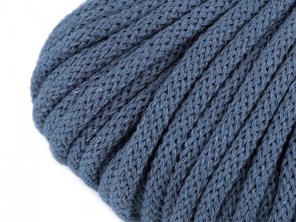 weiche Baumwollkordel - rund - blaugrau - 5 mm