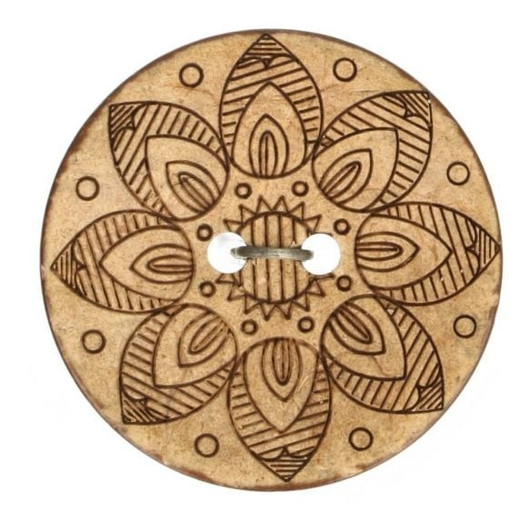 Kokosknopf - gelasert - Stern - Größe 40 - 25mm