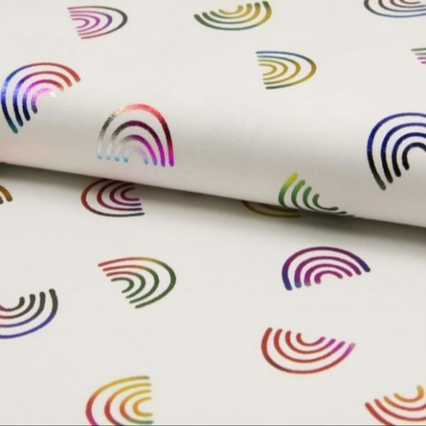 Folienprint - Regenbögen bunt - weiß - BW-Jerey
