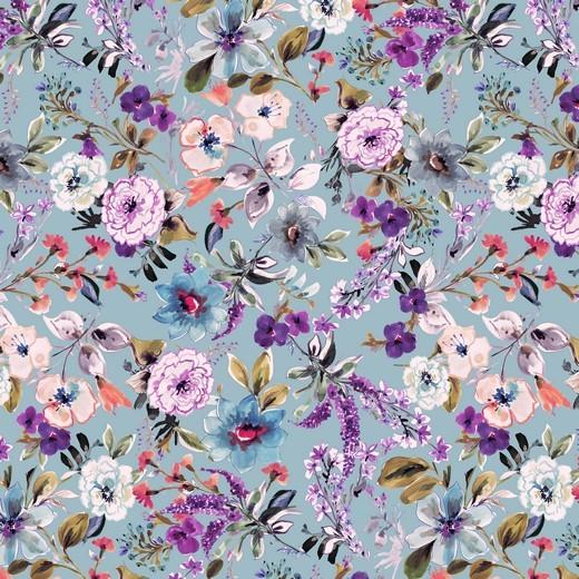Blumengarten - hellblau - Viskose Jersey