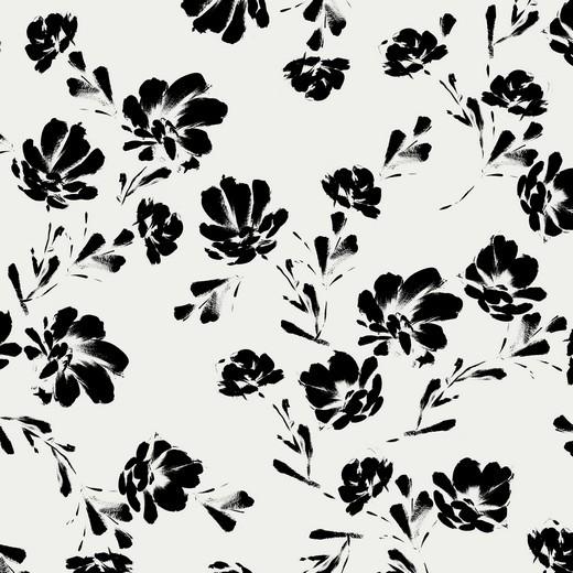 black flowers - ecru - Tencel - Modal Jersey