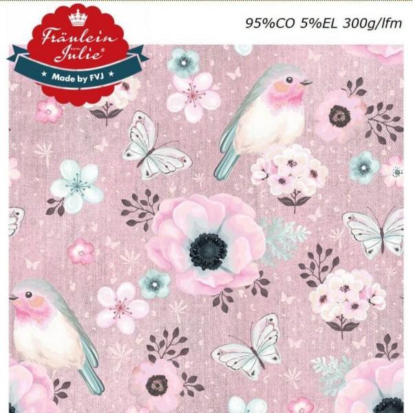 Fräulein von Julie - Flower Birds - denim rosa - Baumwolljersey