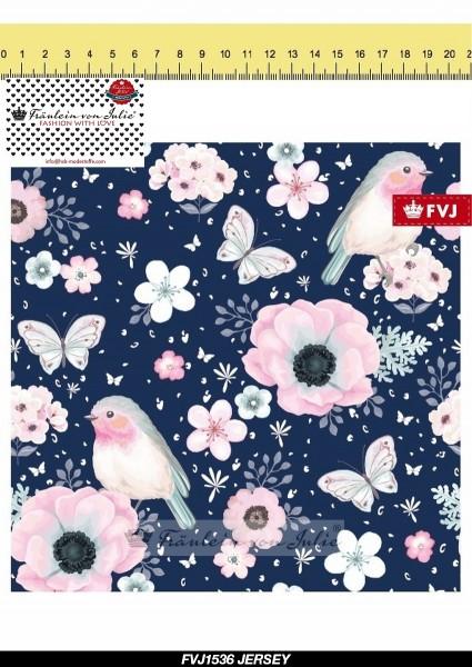 Fräulein von Julie - Flower Birds - dunkelblau - BW-Jersey