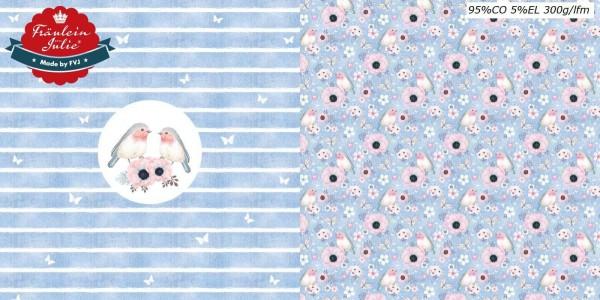 Fräulein von Julie - Flower Birds - Panel - denim helllblau - BW-Jersey
