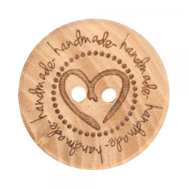 Holzknopf - mit Herz - Größe 32 - 20mm