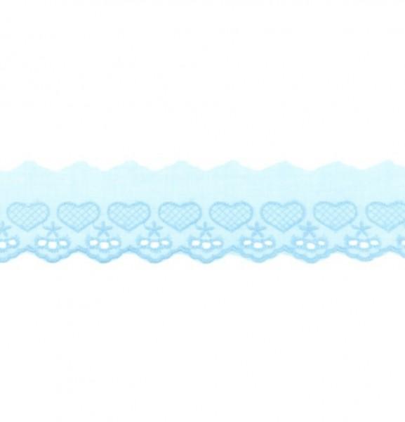 Wäschespitze Herzen - hell blau - 50 mm