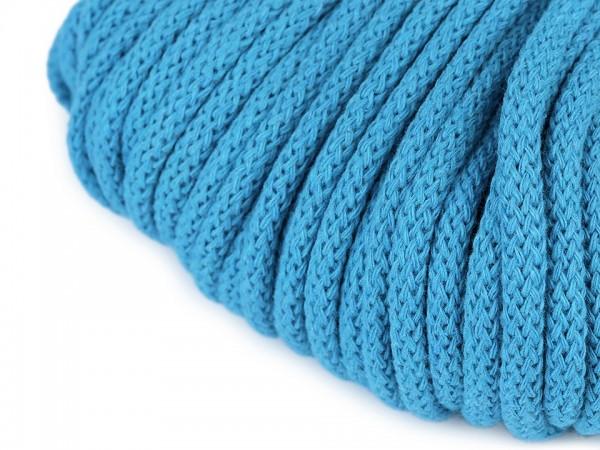 weiche Baumwollkordel - rund - azzuro blau - 5 mm