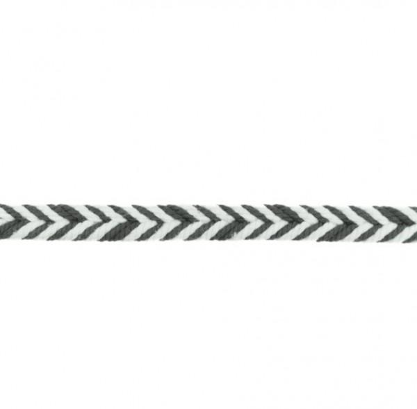 Baumwollkordel Fischgrät - dunkel grau - 10 mm -