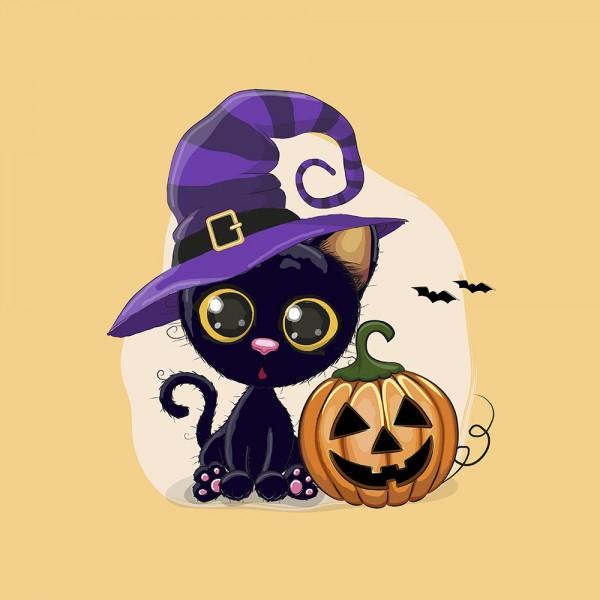 Panel - Halloween Katze - French Terry