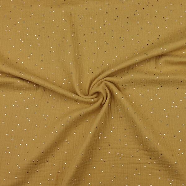 Musselin - Gold-Dots - ocker