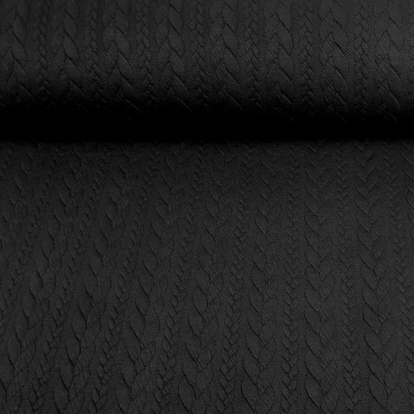 Jacquard Strickstoff - Zopfmuster - schwarz