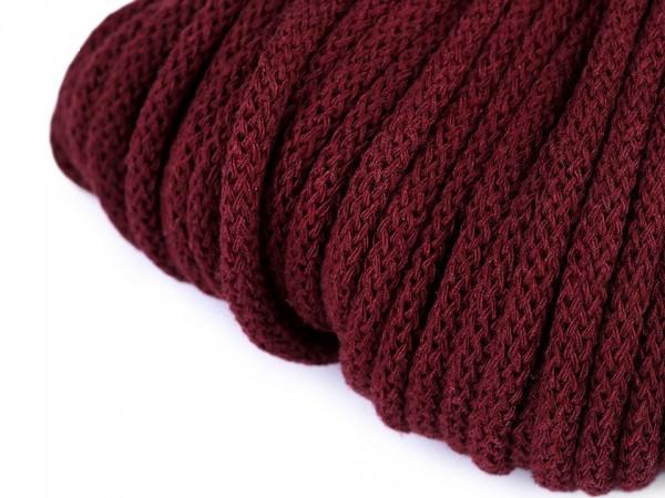 weiche Baumwollkordel - rund - bordeaux - 5 mm