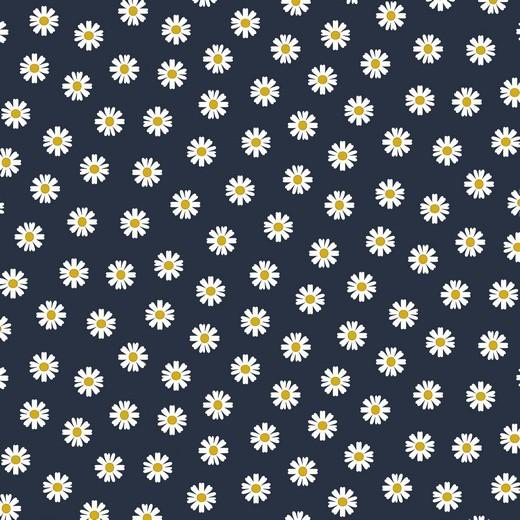 Daisy - Gänseblümchen - dunkelblau - Popeline