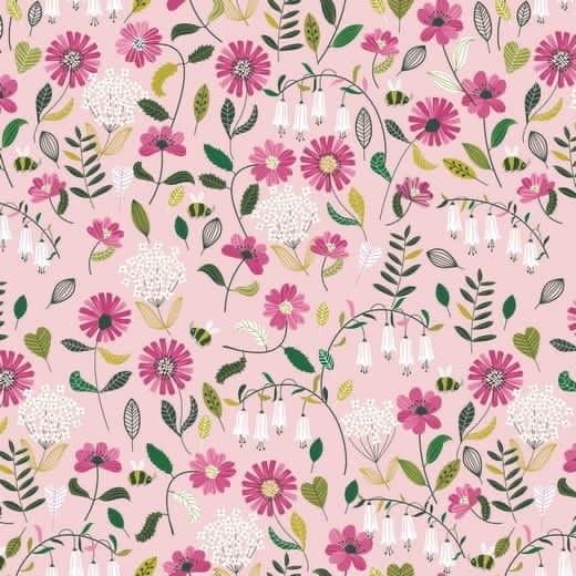 Brushed Flowers - hellrosa - Popeline