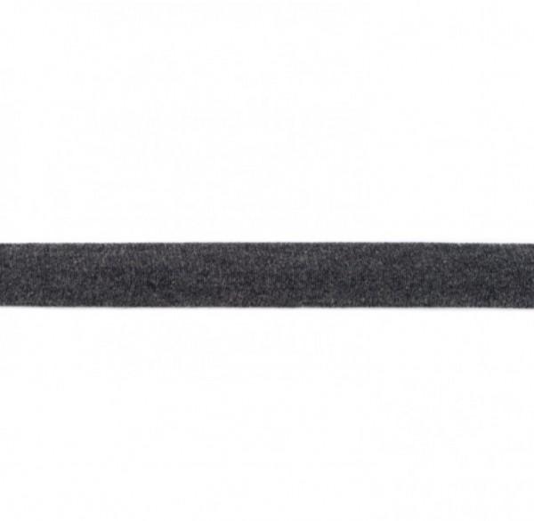 Baumwolljersey Einfassband - dunkelgrau meliert -