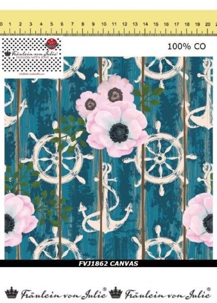 Fräulein von Julie - maritime Blüten - petrol - Canvas