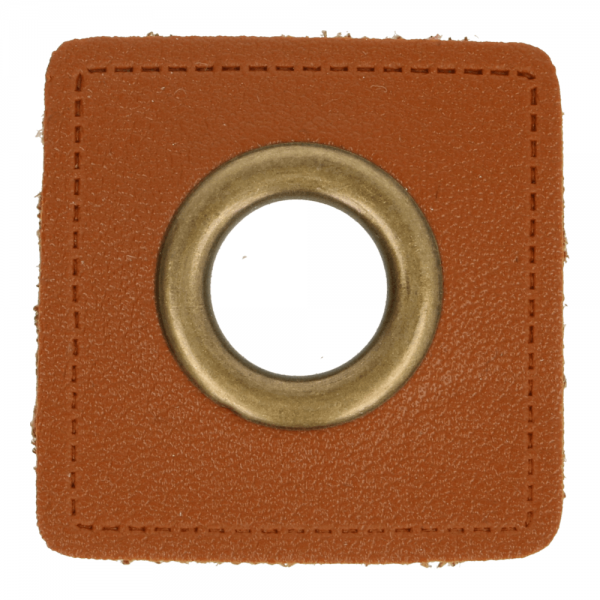 Ösenpatch - Viereck - 11mm - braun-gold