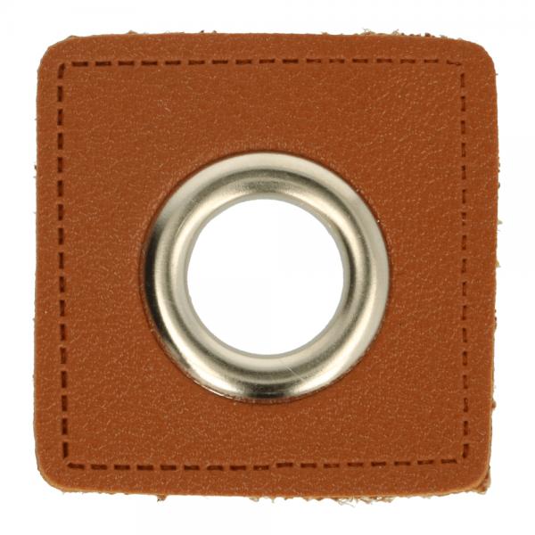 Ösenpatch - Viereck - 11mm - braun-silber