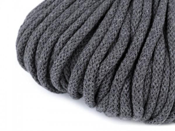 weiche Baumwollkordel - rund - grau - 5 mm