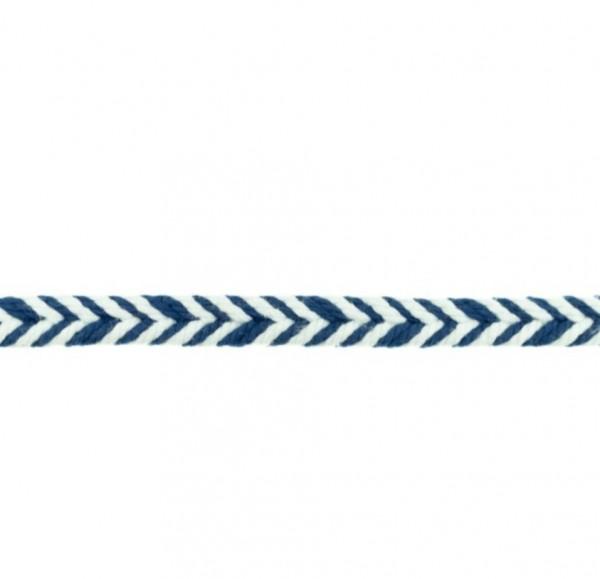Baumwollkordel Fischgrät - dunkel blau - 10 mm -